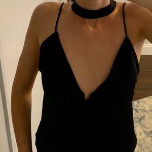 Tobi black satin choker top